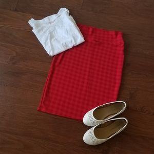 LuLaRoe Red Checkered Cassie Skirt